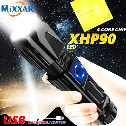 EZK20  XHP90 LED Flashlight Telescopic Zoom USB Charging Tactical 26650 Hunting Flashlights with Clip Safety Hammer - ShopeeShipee