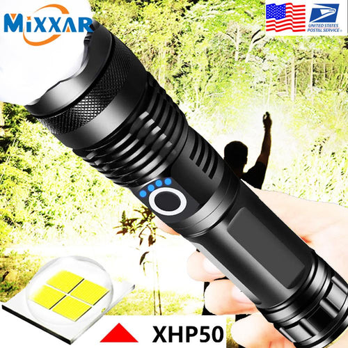 EZK90 LED Flashlight XHP50 Tactical Flashlights USB Rechargeable Waterproof Zoomable 18650 26650 Torch - ShopeeShipee