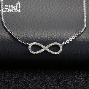 Effie Queen New 3 Colors Infinity Style Loop Solitaire Necklaces  with Austrian Zircon Paved Women Jewelry DAN014