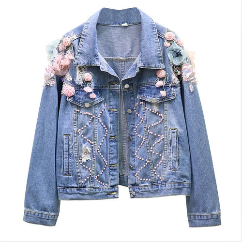 Embroidered Flower Hole Long Sleeve Denim Jacket Women Coat Spring 2020