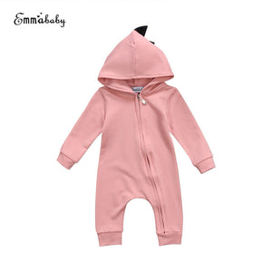 Emmababy Baby Boy Girl 3D Dinosaur Costume Solid pink gray Rompers warm spring autumn cotton romper Playsuit Clothes - ShopeeShipee