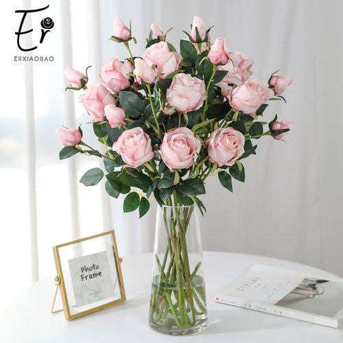 66 cm 2 Heads Silk White Pin Red Blue Green Artificial Flowers Rose Fake Flowers Fall Decorations for Home Wedding - ShopeeShipee
