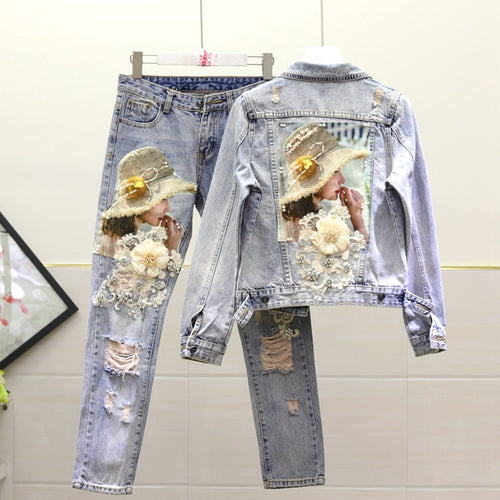 European Style Denim Jacket Women Fashion Heavy Embroidery Beaded Sequined Embroidered Flower Washing Water Jeans Denim Jackets - ShopeeShipee