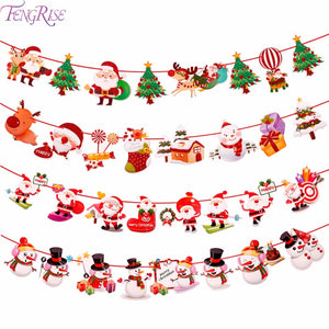 FENGRISE 2M Christmas Banner Santa Claus Wall Hanging Drop Ornaments Snowman Flag Banner for Christmas Decorations New Year 2019