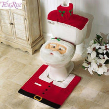 3pcs Fancy Santa Claus Rug Seat Bathroom Set Contour Rug Christmas Decoration Navidad Xmas Party Supplies New Year 2019