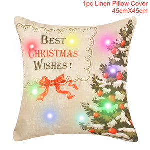 FENGRISE LED 45x45cm Christmas Decoration Pillow Case Christmas Tree Decorations Santa Claus Christmas Decoration for Home Xmas - ShopeeShipee