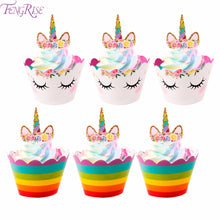 SHOPEE SHIPEE Unicorn Party Cupcake Toppers Wrappers Kids Favors Decoration Birthday