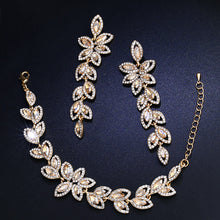 FLOLA Crystal Bridal Jewelry Sets Silver Color Leaves Shape Bridal Bracelet Earrings 2017 Wedding Jewelry Sets for Women brta02 - ShopeeShipee