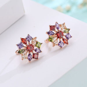 FYM Luxury Anniversary Colorful Zircon Jewelry Sets For Women Rose Gold color inlay CZ Pendant Necklace & Earrings Jewelry Sets