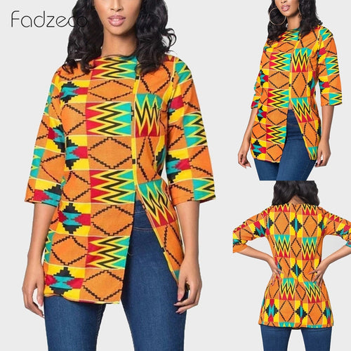 African Clothes for Women Bazin Dashiki T Shirt African Print Blouse Ankara Style Side Split Round Neck Tops Tee - ShopeeShipee