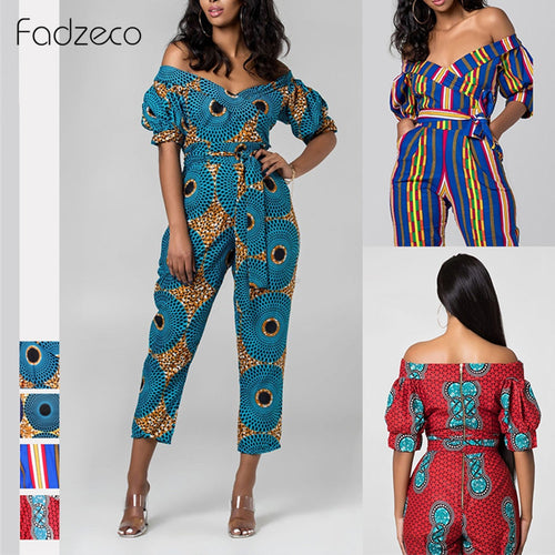 African Dresses for Women Dashiki Off Shoulder V Neck Jumpsuit Ladies Robe Ankara Dress Bazin African Clothes for Women - ShopeeShipee
