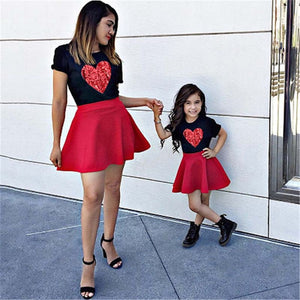 Family Look 2pcs/set Mother Daughter Outfits Skirt Mom and Daughter Dress T-shirt + Skirt Set Love Heart Black Matching Clothes - ShopeeShipee