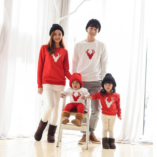 Family Matching Christmas Pajamas Outfits Autumn Deer Father Mom and Daughter Son Family Look Clothes Pure Cotton T-shirt - ShopeeShipee