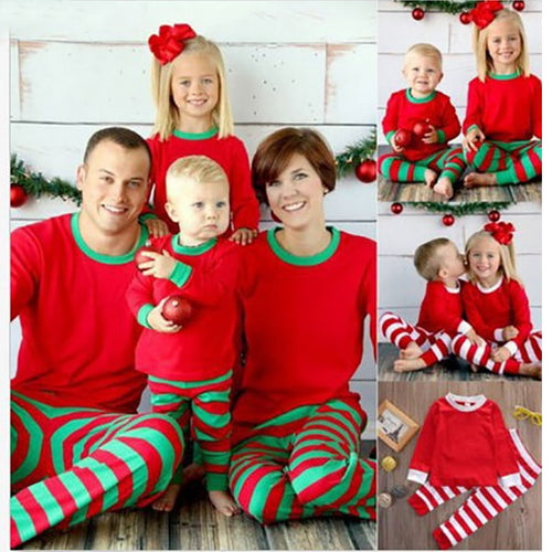 Family Matching Clothes 2017 Winter Family Christmas Pajamas Stripes Mother Father Son Outfits Baby Clothes New Year Costume - ShopeeShipee
