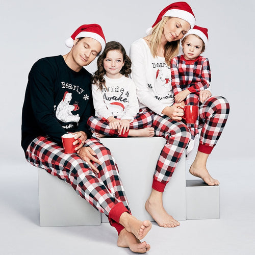 Family Matching Clothes New 2019 Christmas Pajamas 2PCS Sets Plaid Pijamas Outfits Mom and Daughter Dad & Son Nightgown QZ108 - ShopeeShipee