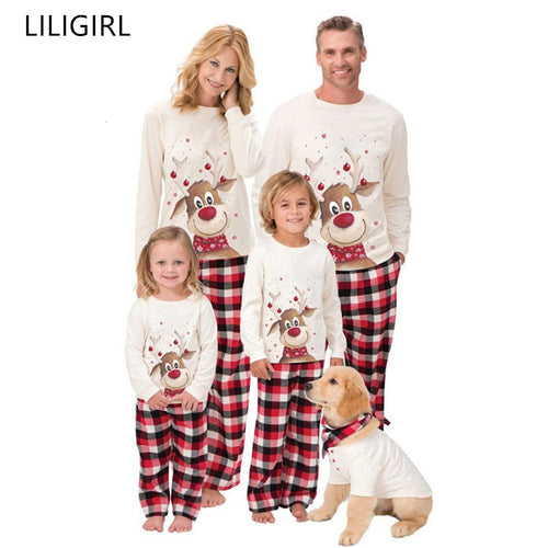 Family Matching Outfits Clothing Christmas Pajamas Set Xmas Adult Kids Cute Party Nightwear Pyjamas Cartoon Deer Sleepwear Suit - ShopeeShipee