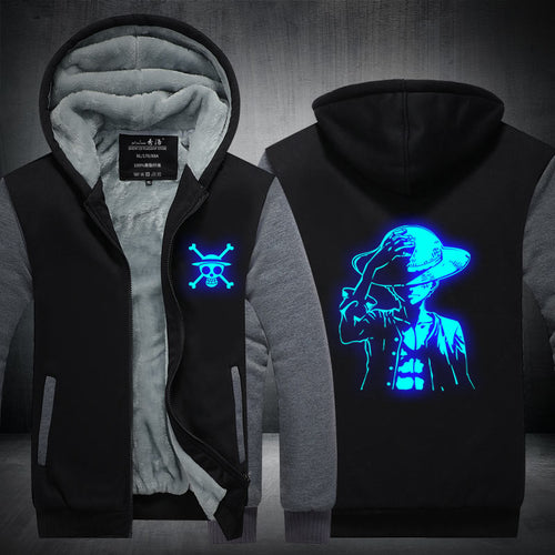 Fans Made One Piece Winter Hoodie Monkey D. Luffy At Night Zip Up Hoodies 3D Printed Hooded Cosplay Sweatshirts - ShopeeShipee