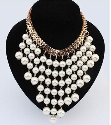 Fashion Beads Gold Chocker Collar Necklace For Women New Wedding Accessories Simulated Pearl Necklaces Statement Jewelry - ShopeeShipee