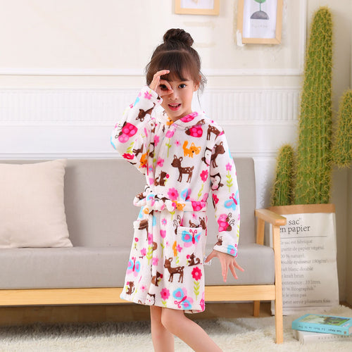 Fashion Children Robes Flannel Print Boys Girls Gown Long Sleeve Hooded Bath Robes Cute Baby Boy Girl Bathrobe Children Clothing - ShopeeShipee