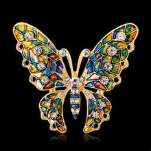Fashion Colorful Rhinestone Crystal Brooch Pins Animal Butterfly Enamel Broches For Women Girls Suit Party Clothes Gift Jewelry