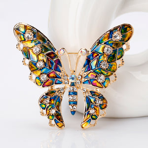 Fashion Colorful Rhinestone Crystal Brooch Pins Animal Butterfly Enamel Broches For Women Girls Suit Party Clothes Gift Jewelry - ShopeeShipee