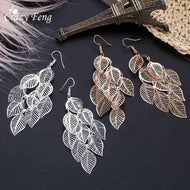 Fashion Hollow Flower Gold Color Leaf Drop Dangling Earrings pendientes Jewelry Wedding Bridal Tasse