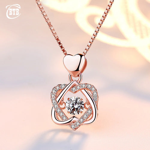 Fashion Romantic Double Heart Flower Pendant Necklace with Zircon Rose Gold/Silver Color Necklace For Women Jewelry - ShopeeShipee