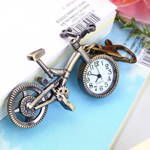 Fashion vintage Bronze Color Bike keychain Clock Quartz Pocket Pendant Watch Necklace Sweater key Chain Bags For Women Boys Gift - ShopeeShipee