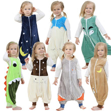 Flannel Warm Sleepwear Children Overalls Prevent Kick Halloween Baby Blanket Sleepers Animal Feet Pajamas Christmas Kids Rompers