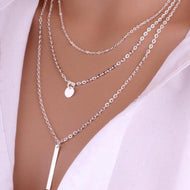 Foreign Trade Hot Jewelry New Copper Bead Chain Sequin Metal Strip Necklace Multi-layer Round Piece 1 Word Necklace  Choker