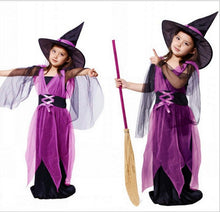 Girl Cosplay Witch Dress With Hat 2pcs 2018 children's Fantasy Girls Halloween Costume baby girl cosplay dress Baby girl clothes