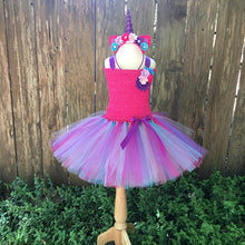 Girls Tutu Dress Fancy Rainbow Princess Pony Unicorn Dress With Headband Christmas Halloween Costume Kids Girl Party Dress 1-14Y