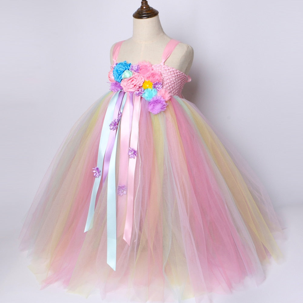 43a4bc71c3 ... Girls Unicorn Tutu Dress Pastel Rainbow Princess Flower Girl Party  Dresses Children Kids Birthday Halloween Unicorn ...