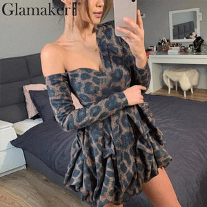 Glamaker Leopard one shoulder sexy bodycon autumn dress Women v neck elegant mini short dress Party long sleeve winter dress