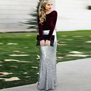 Glitter Silver Sequin Maxi Skirt for Women High Waist Mermaid Sequins Long Skirts Custom Made Jupe femme Faldas Saia