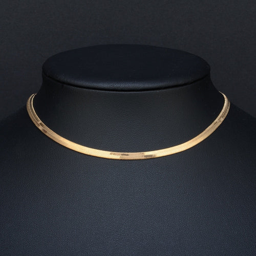 Gold & Sliver Color 3mm Wide necklace Men jewelry female collarbone blade short chain choke ornament Flat bone snake chain - ShopeeShipee