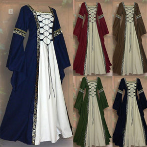 Gothic Medieval Dress Cosplay Carnival Halloween Costume for Women Retro Vestidos Court Long Robe Noble Princess Palace Party - ShopeeShipee