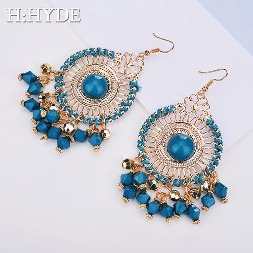 Indian Jewelry Boho Earrings Black Red Enamel Beads Rhinestone exaggerated disc tassel Drop earrings pendientes - ShopeeShipee