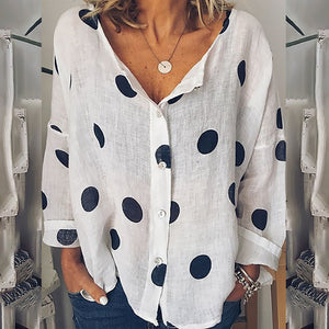 Summer v neck long sleeve women shirt 2019 woman thin loose dot printed white blouses causal shirts tops plus size 5XL