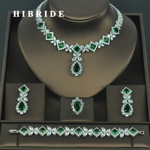 HIBRIDE Brilliant Cubic Zirconia Wedding Jewelry Sets For Women Bridal 4 pcs Earring Necklace Set Promotion Factory Price N-318 - ShopeeShipee