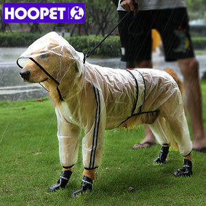Pet Raincoat Puppy Four Feet Hooded Transparent Waterproof Teddy Large Dog Rain Out Clothes for Animals