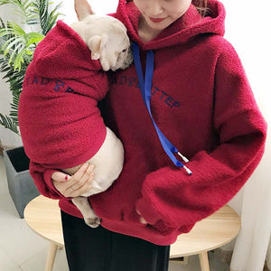 Autumn and winter warm dog clothes pet parent-child wear hooded lamb cashmere thickening dog sweater French bulldog - ShopeeShipee