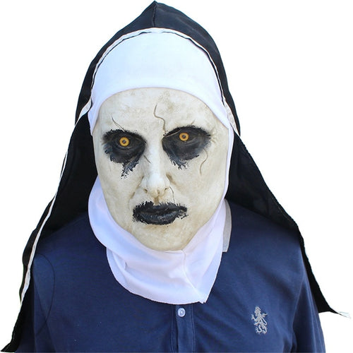 Halloween The Nun Horror Mask Cosplay Valak Scary Demon Latex Masks With Headscarf Full Head Helmet Party Props - ShopeeShipee