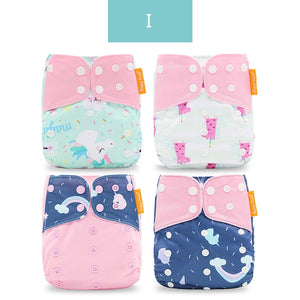 Happyflute  4pcs/set Washable Cloth Diaper Cover Adjustable Nappy Reusable Cloth Diapers Cloth Nappy fit 3-15kg baby