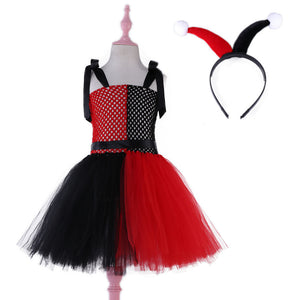 Harley Quinn Children Cosplay Costume Girls Tutu Dress with Headband Kids Party Dresses for Birthday Halloween Christmas Summer
