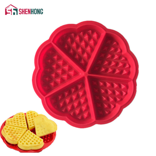Heart Shape Waffle Mold 5-Cavity Silicone Oven Pan Baking Cookie Cake Muffin Cooking Tools Kitchen Accessories Supplies - ShopeeShipee