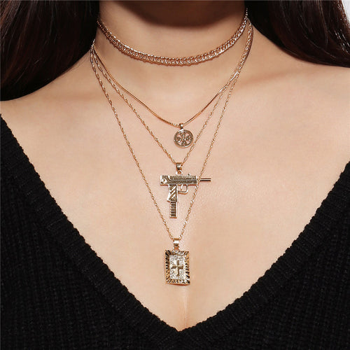 Hip Hop Gun Cross Long Pendant Necklace For Women Gold Silver Multilayers Link Chain Choker Necklace Collar Jewelry Party LN0036 - ShopeeShipee