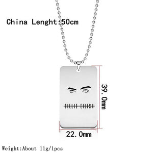 Hot Billie Eilish Stainless Steel Pendant Necklace Jewelry 2019 New Round Strand Chain Square Pendant Necklace Fans Gifts