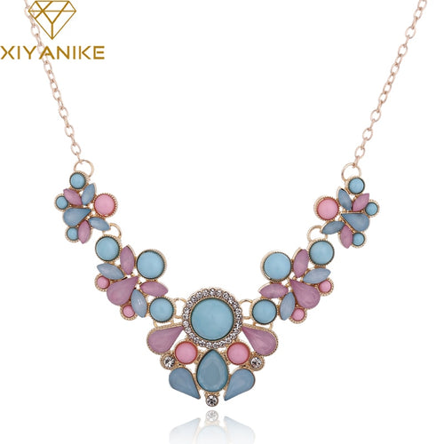 Hot Sweet Elegant Women Bohemian Bib Gem Choker Necklace & Fresh Candy Color Statement Pendant Necklaces moda mujer XY-N155 - ShopeeShipee
