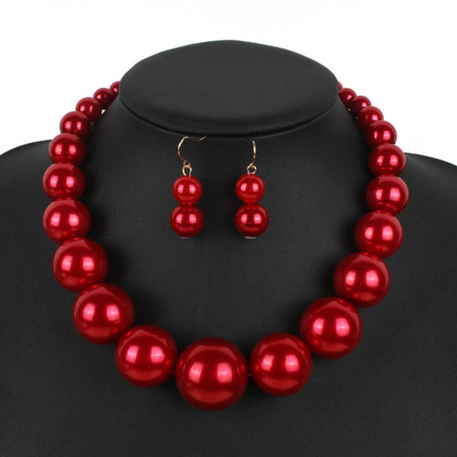 Hyperbol Indian Jewelry Beads Necklace Wedding Jewelry Set Red/White/Black Simulated-pearl Necklace Earrings Set Turkish Jewelry - ShopeeShipee